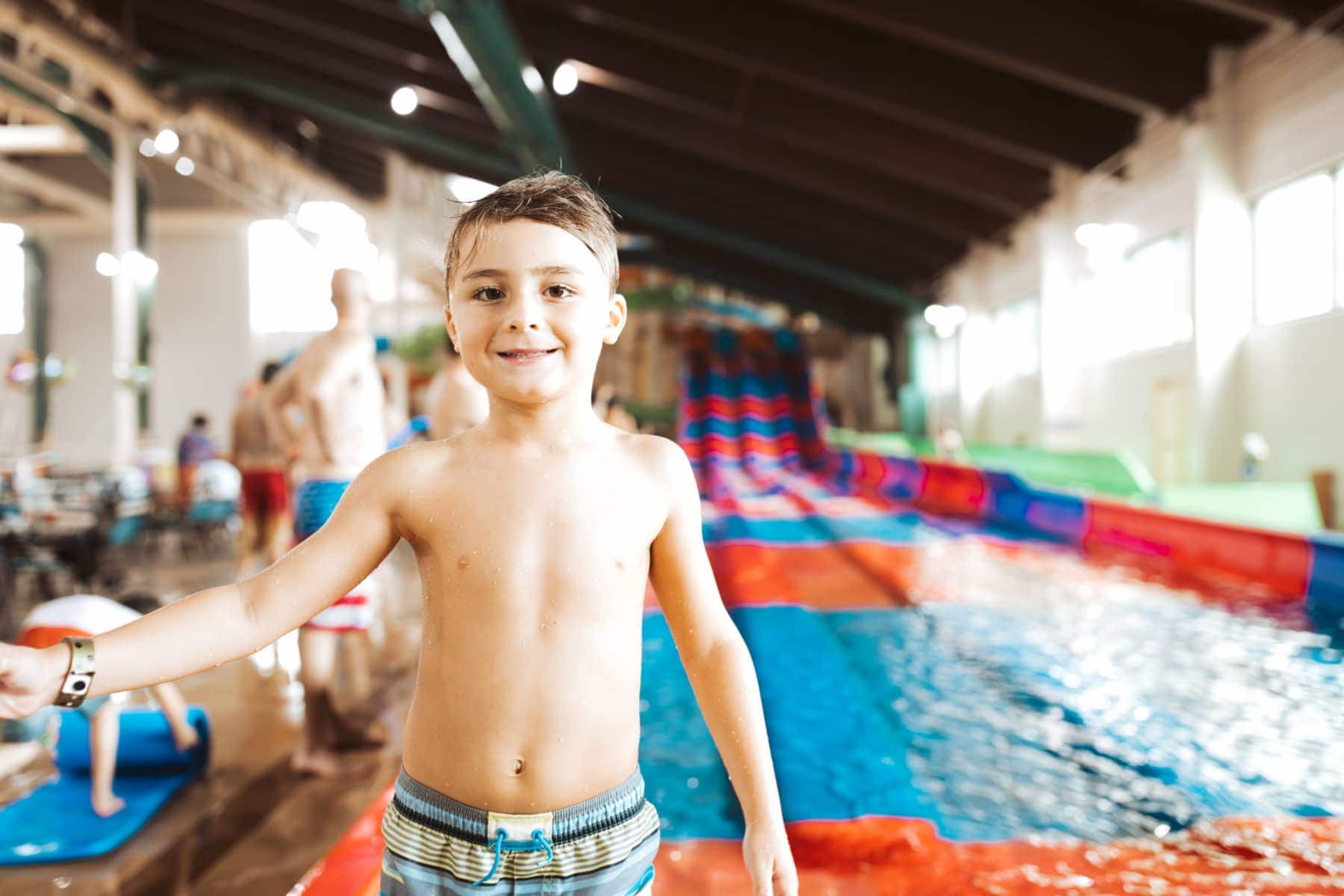 boy at waterpark
