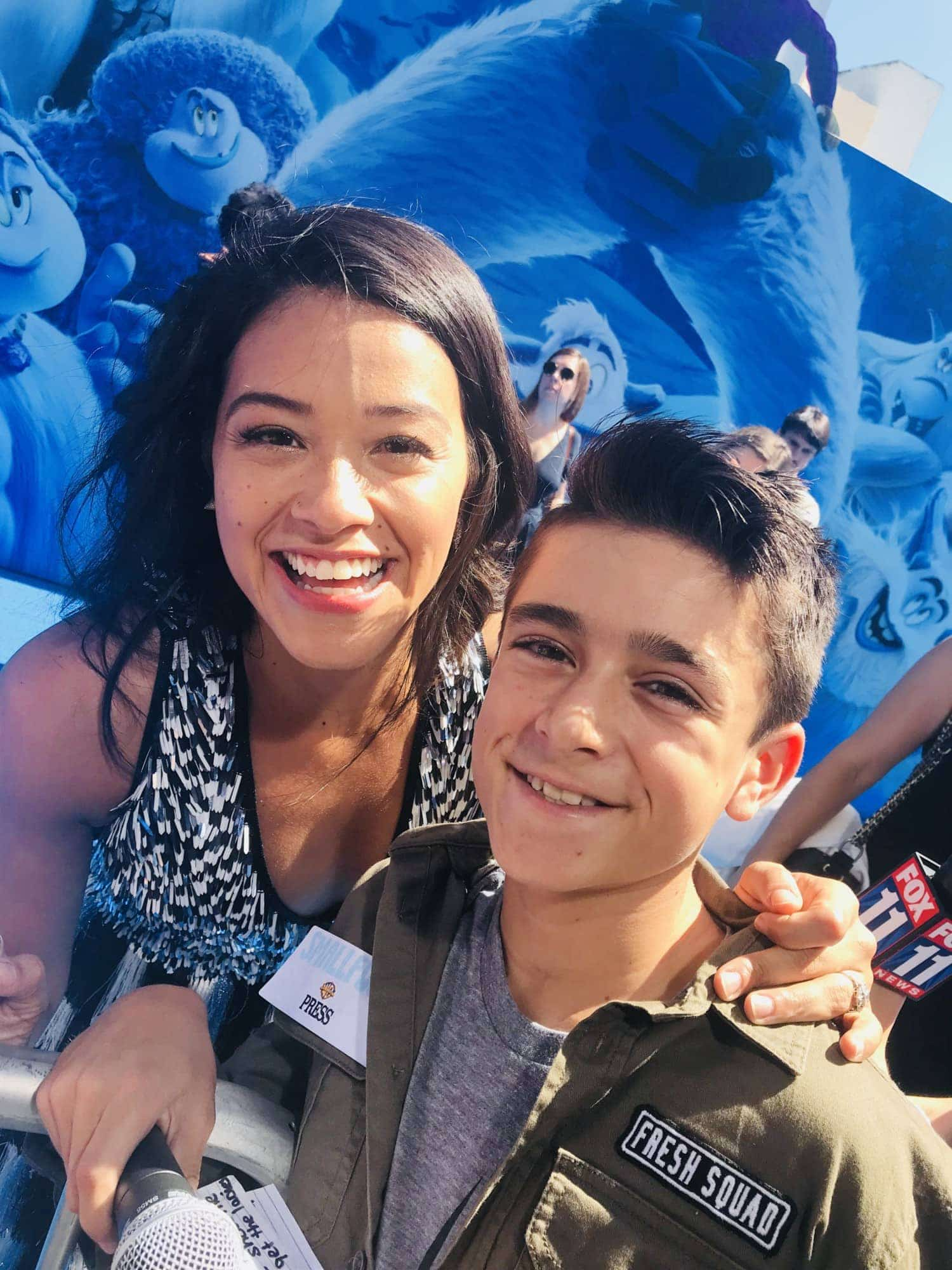 Gina Rodriguez on the red carpet of Smallfoot