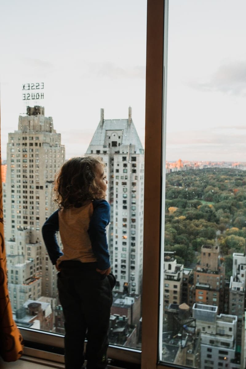 boy looking at view of Central Park