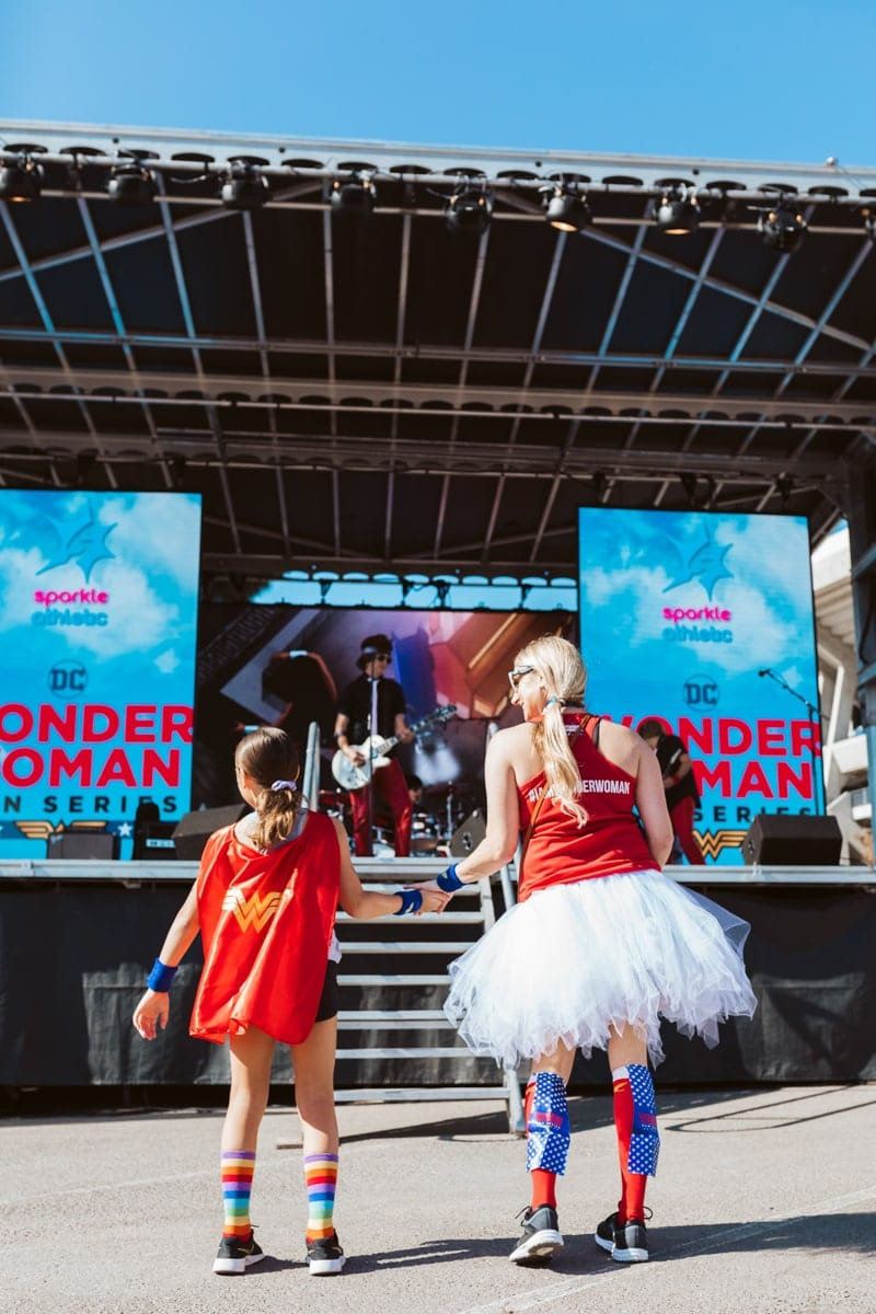 dancing at the Wonder Woman race series