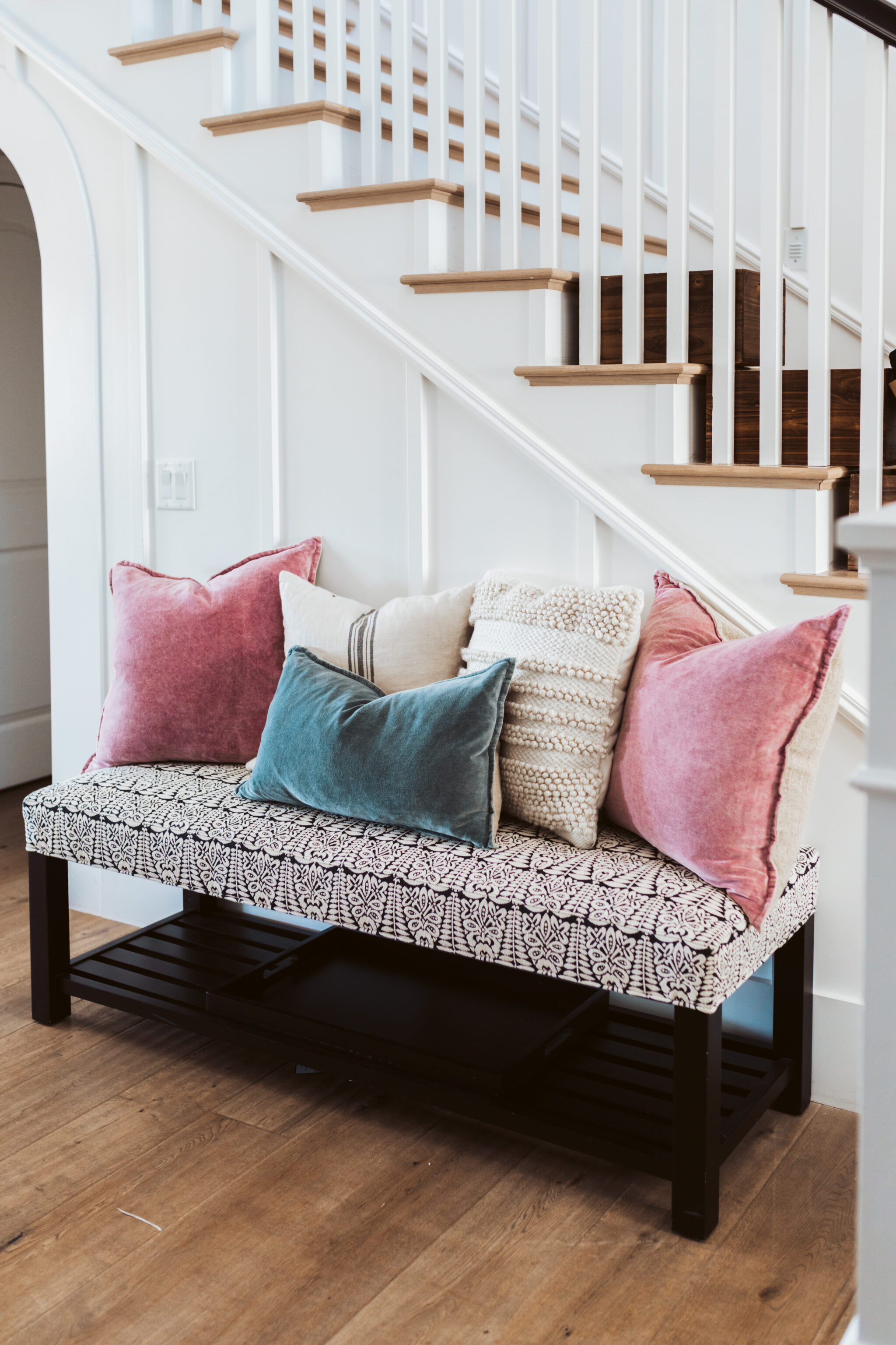 pillows on bench