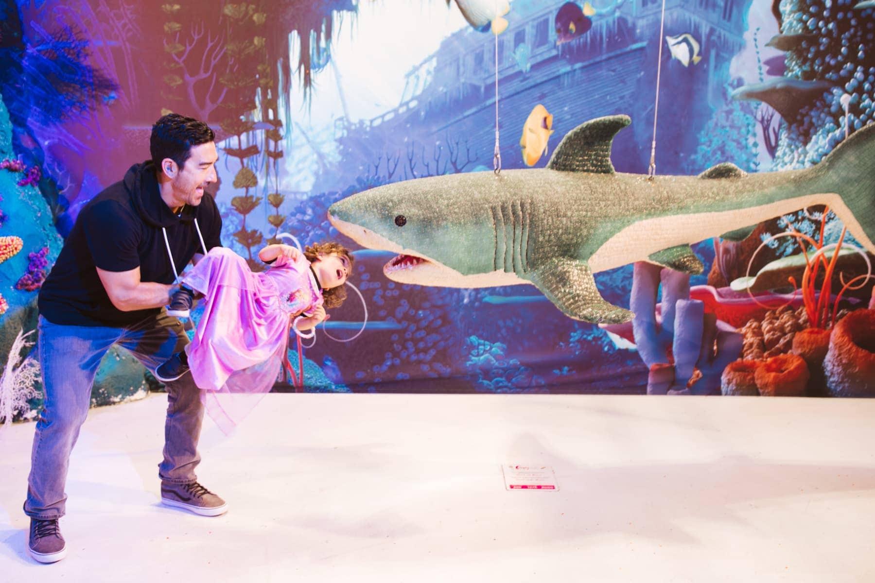 Family at candytopia shark