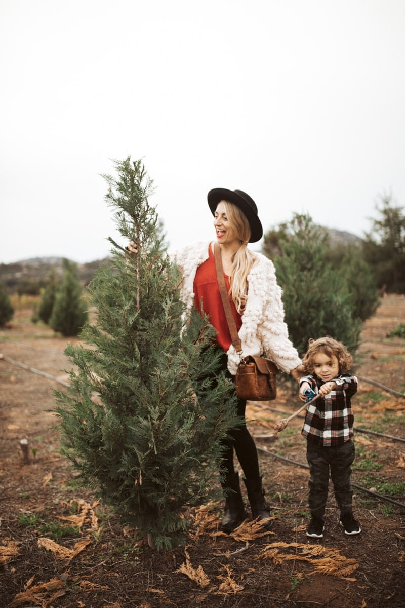 mom and son getting christmas tree