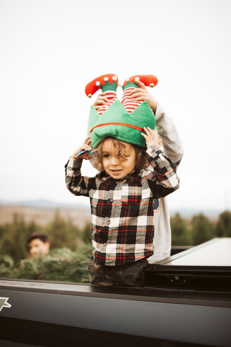 toddler with christmas hat