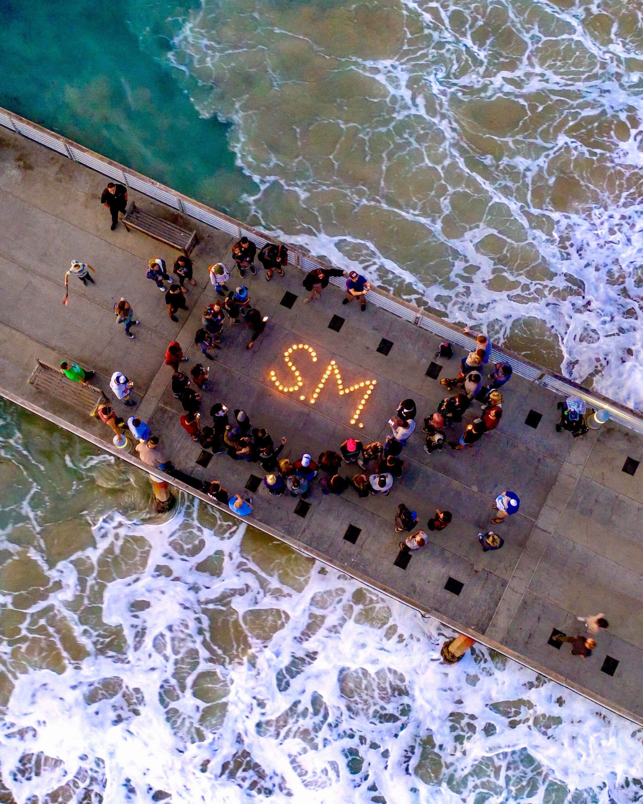beachside candlelight vigil