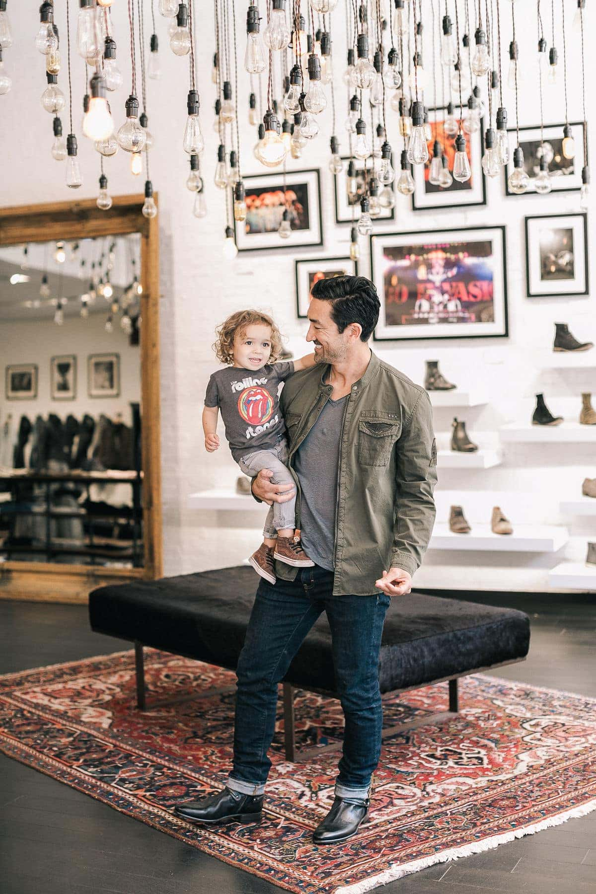 man and son shopping