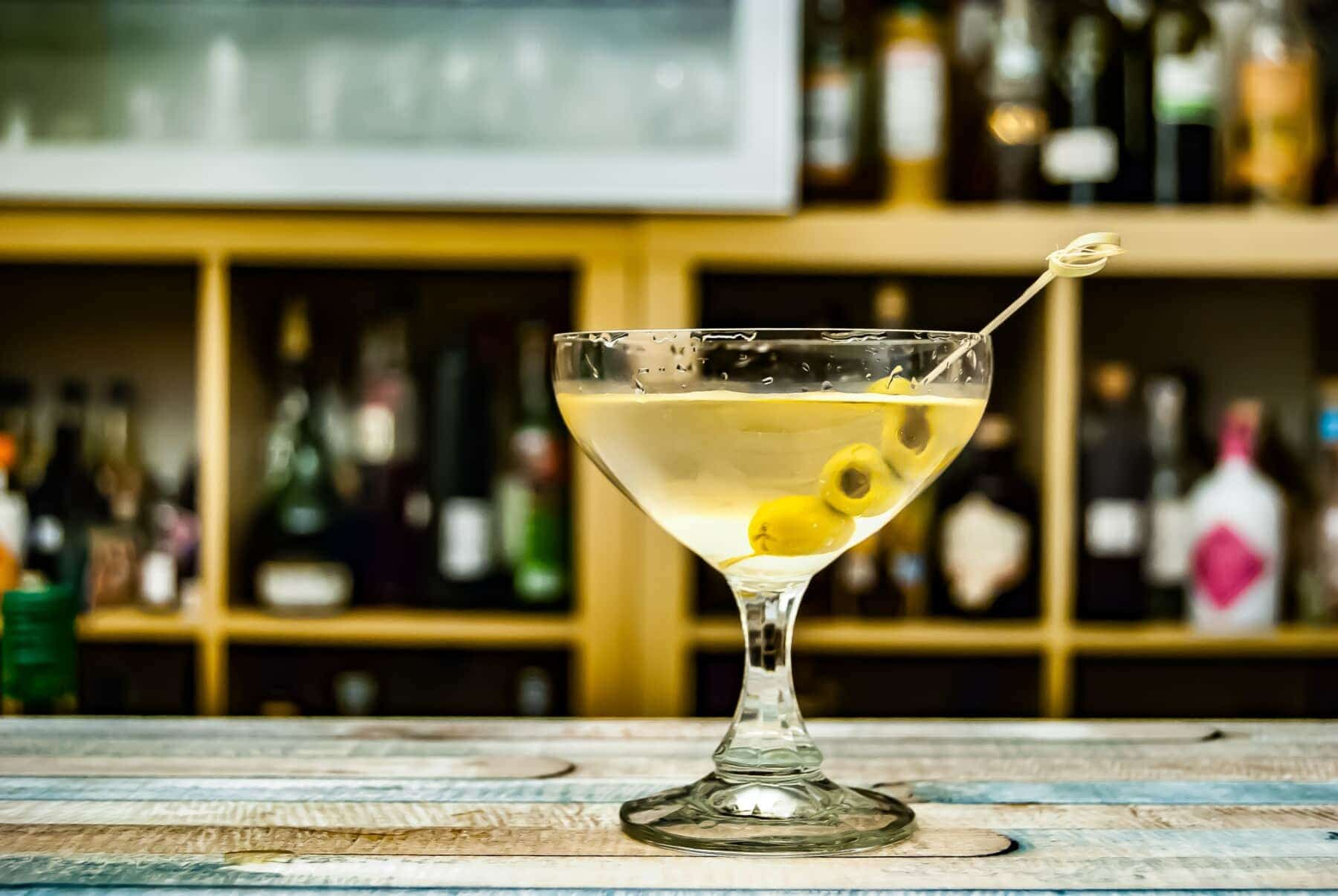 martini on bar