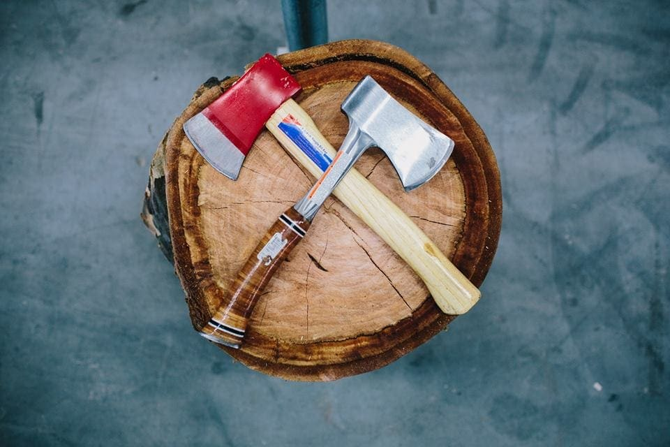axes on wood