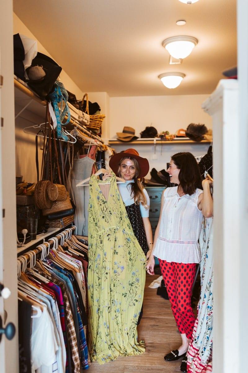 women in closet