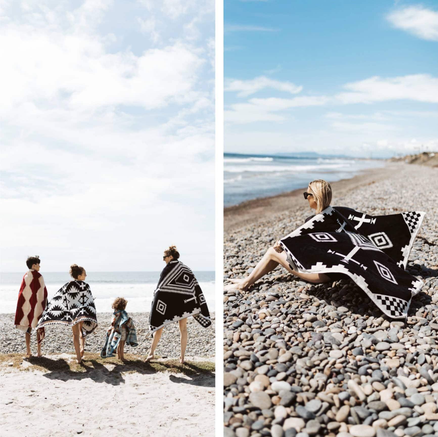 pretty towels on beach