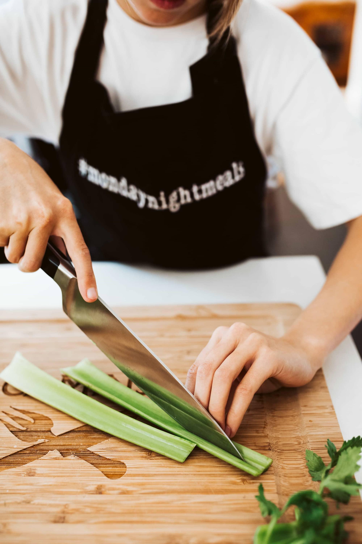 slicing celery