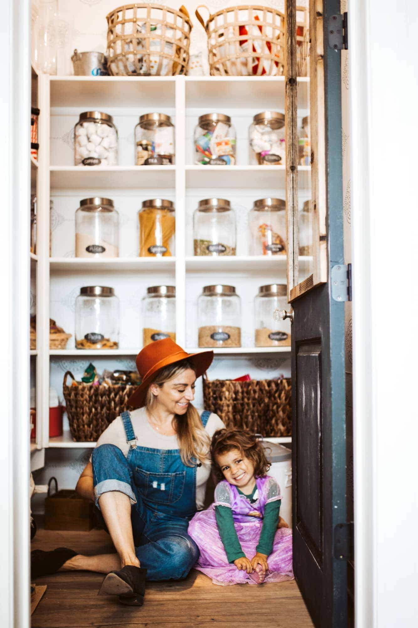 mom and child in pantry