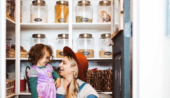woman and son in pantry
