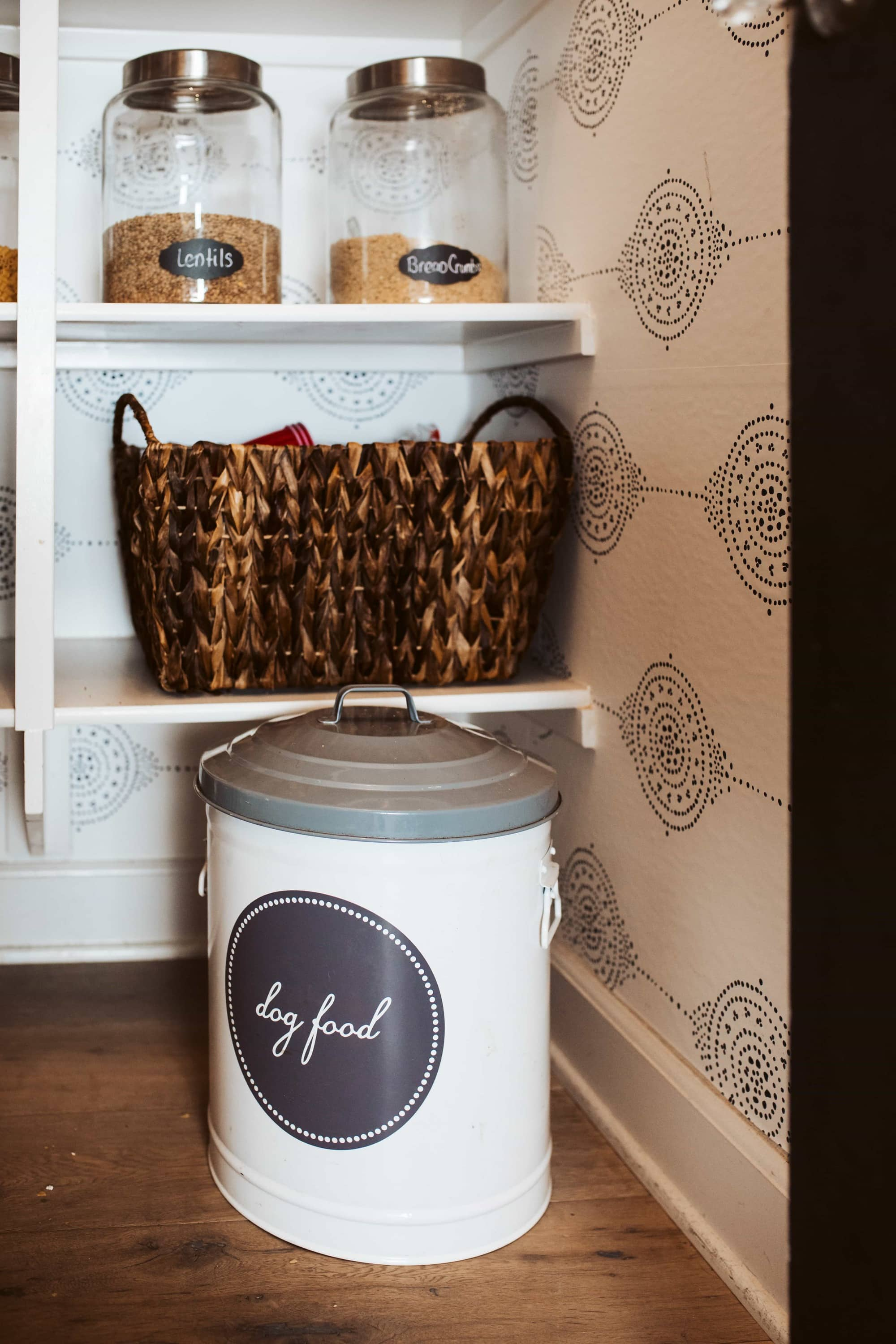 pantry organization with jars and baskets