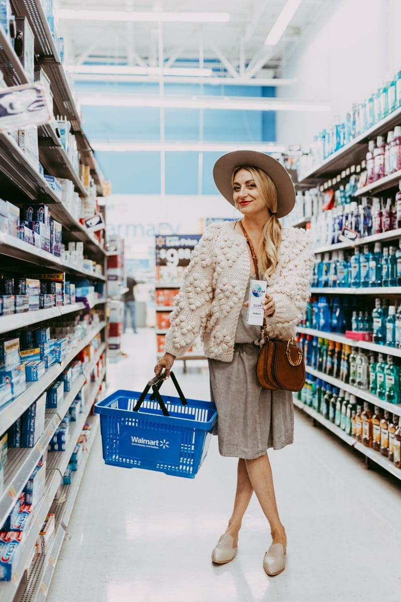 woman shopping for crest