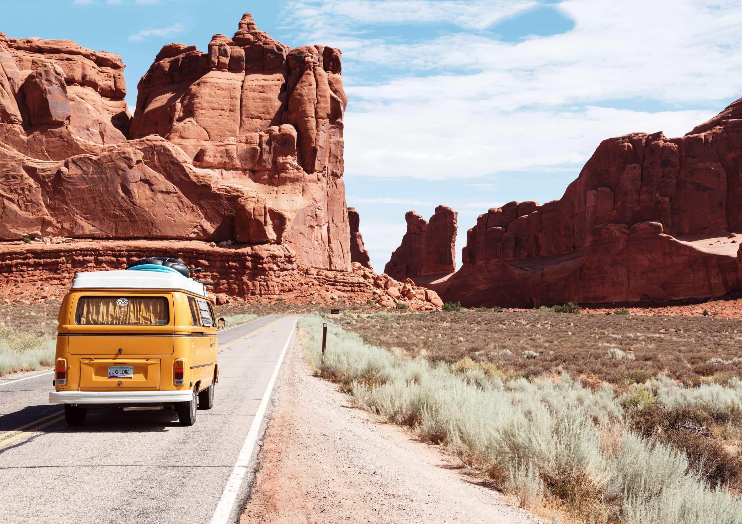 van in desert