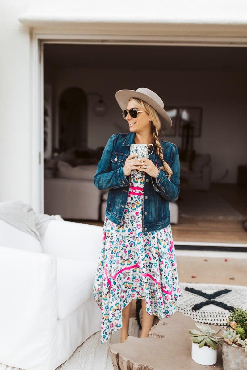 woman in dress standing outside