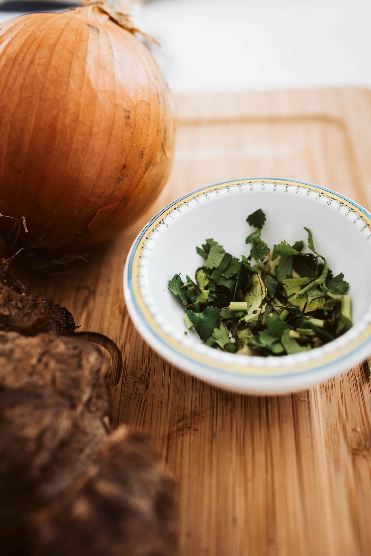 onion and cilantro