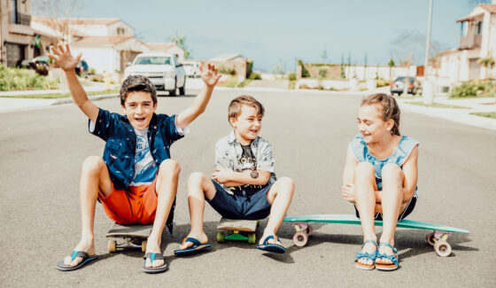 kids on skateboards