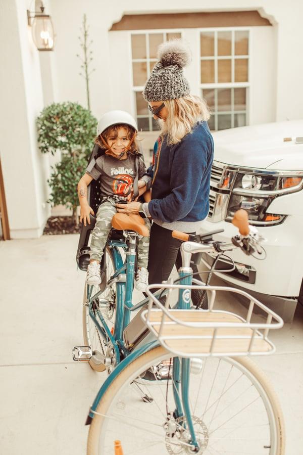 mom and baby on bike