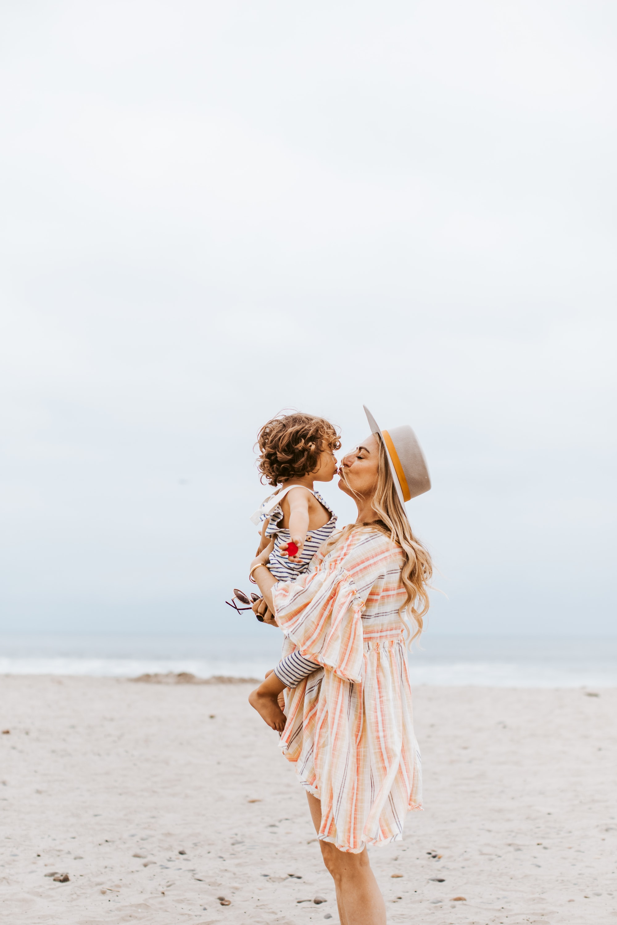 beach mother and baby