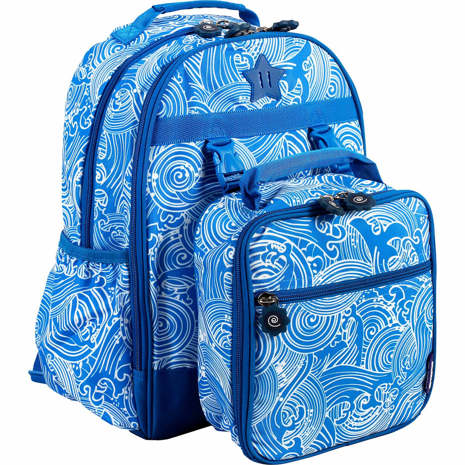 blue backpack and lunch bag
