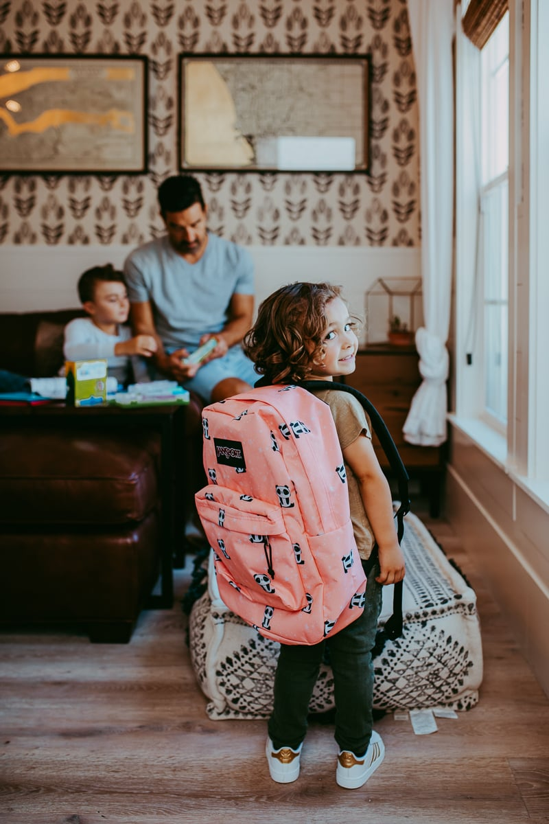 boy with school backpack