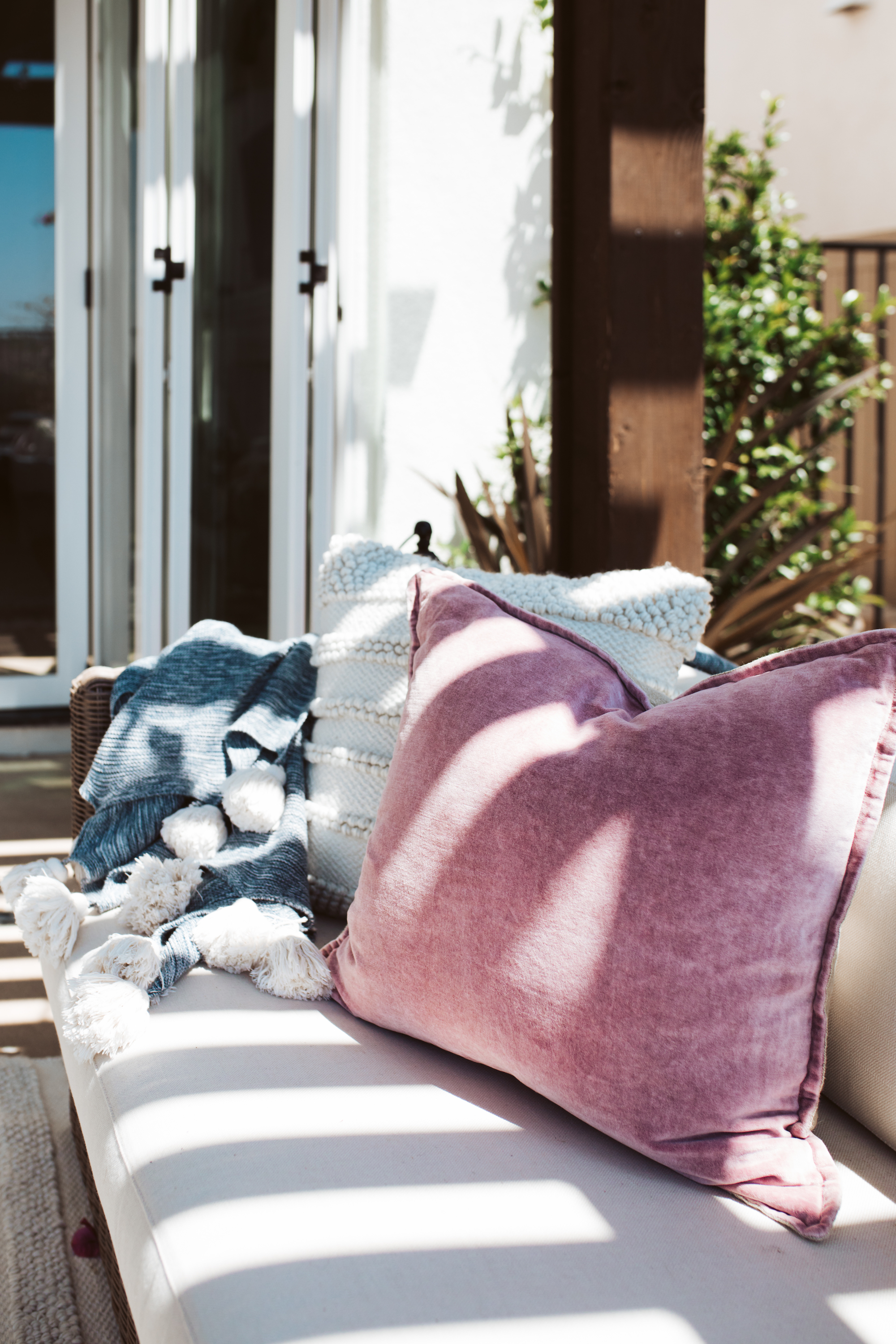 outdoor couch with pillows