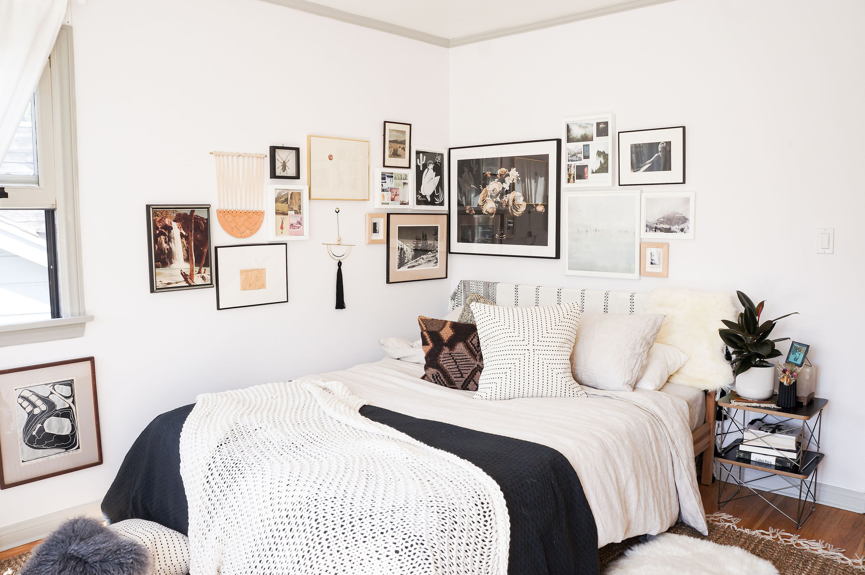 bedroom with picture frames