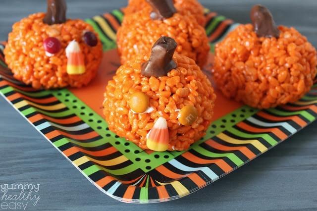 halloween candy pumpkin rice krispy treats