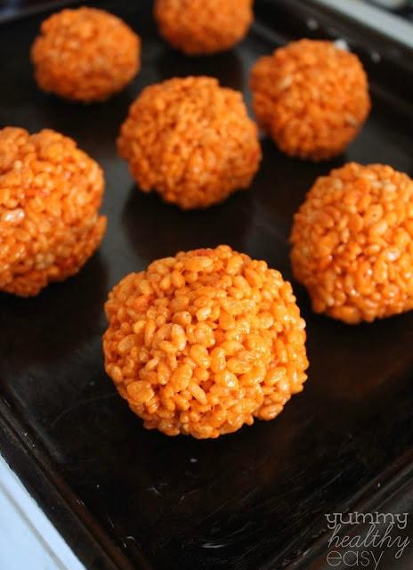 orange rice crispy balls