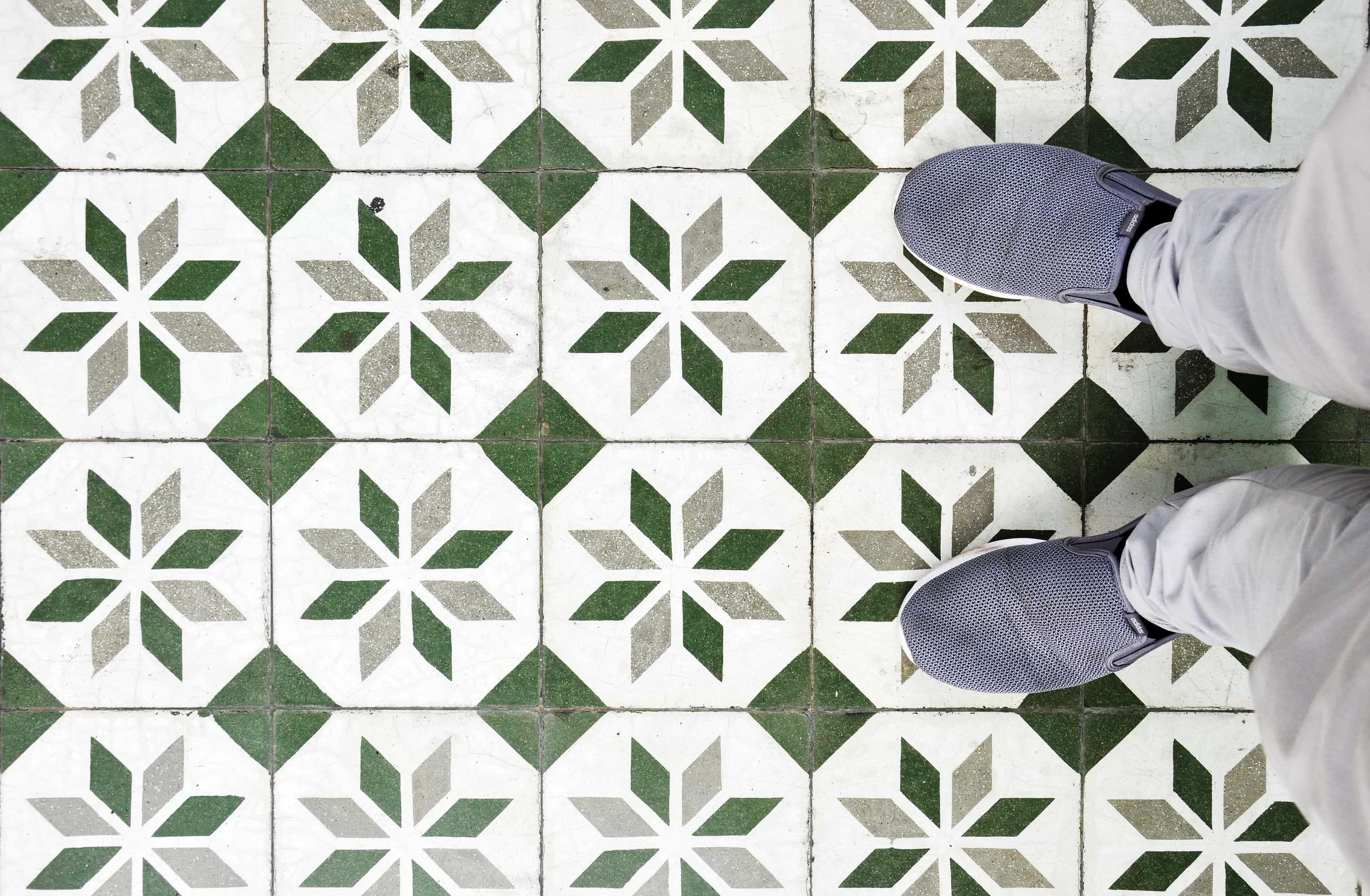 tile floor and shoes