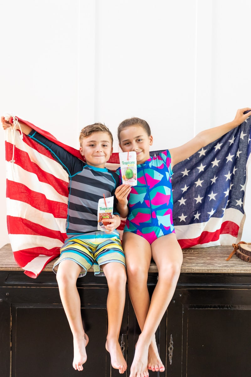 kids drinking juice flag
