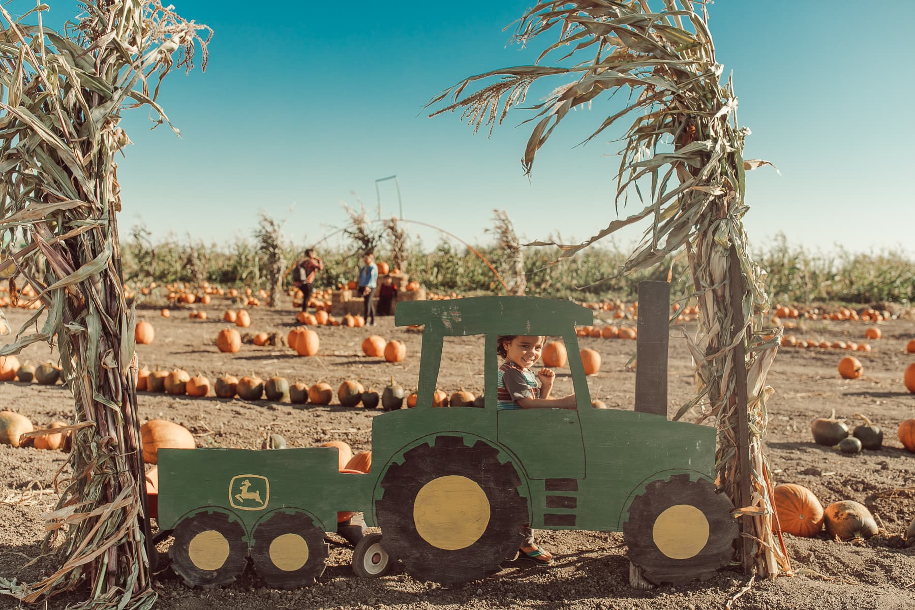 boy in tractor at pumpkin patch