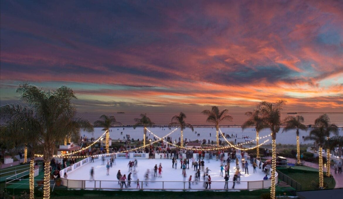 ice skating rink by ocean