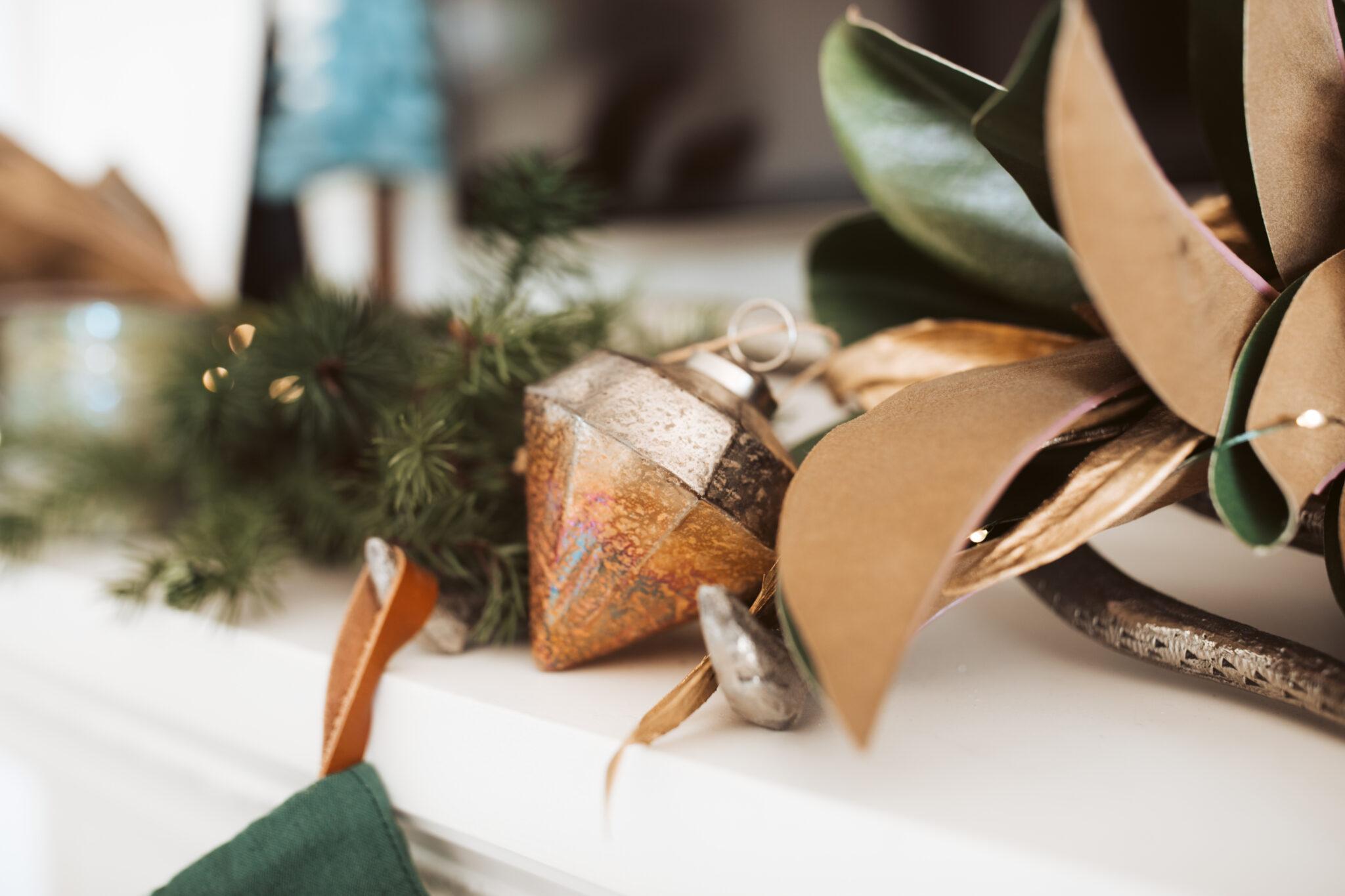 ornaments on a shelf