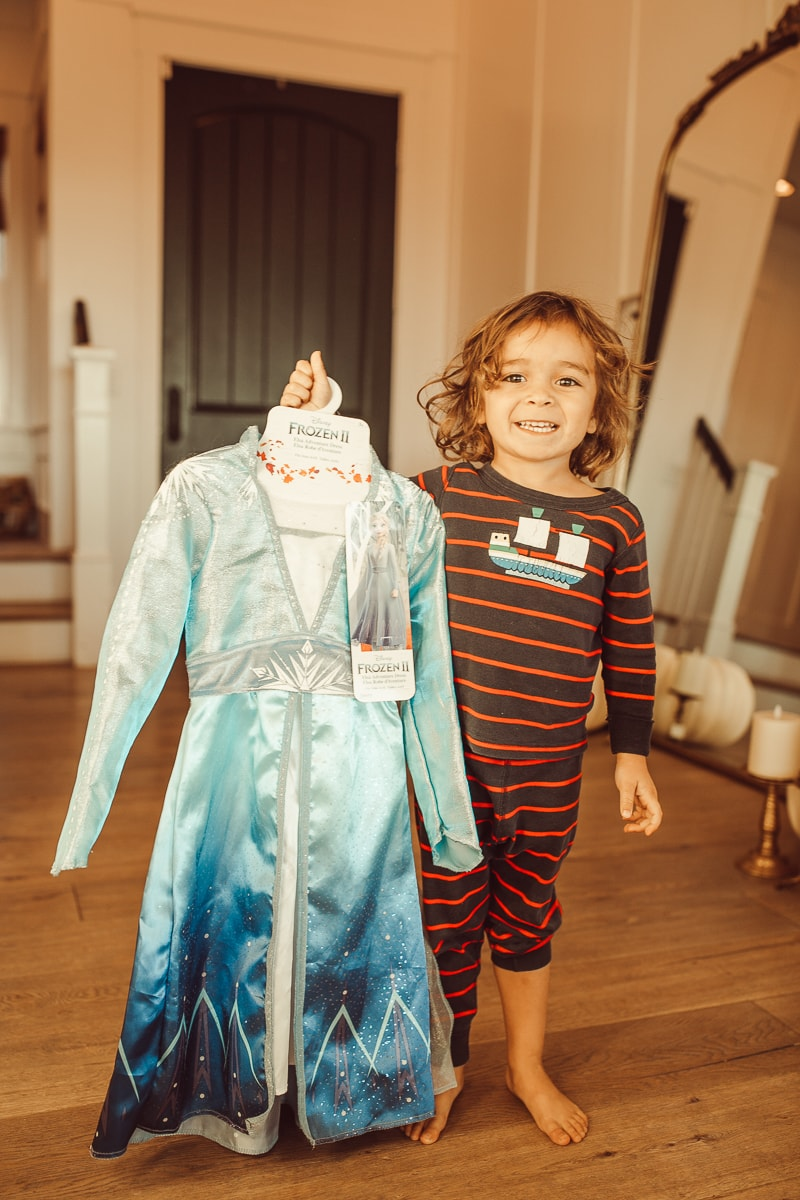 toddler with frozen elsa dress