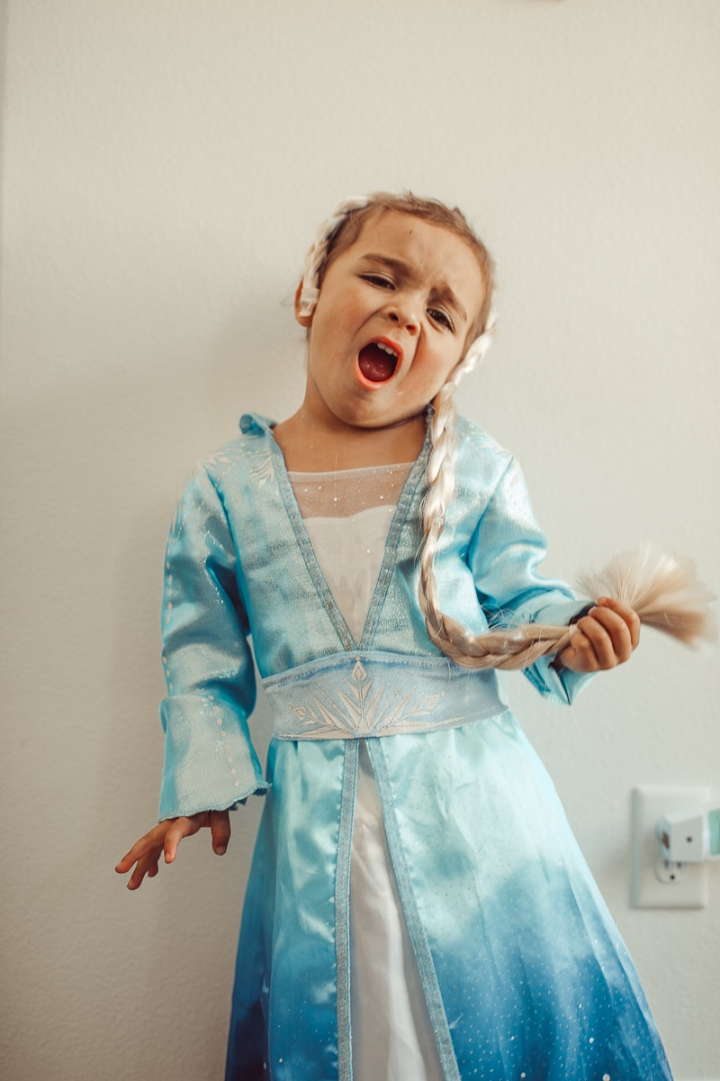 toddler singing and dressing up