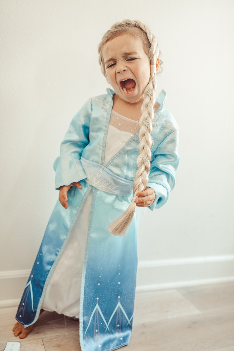 toddler in frozen costume