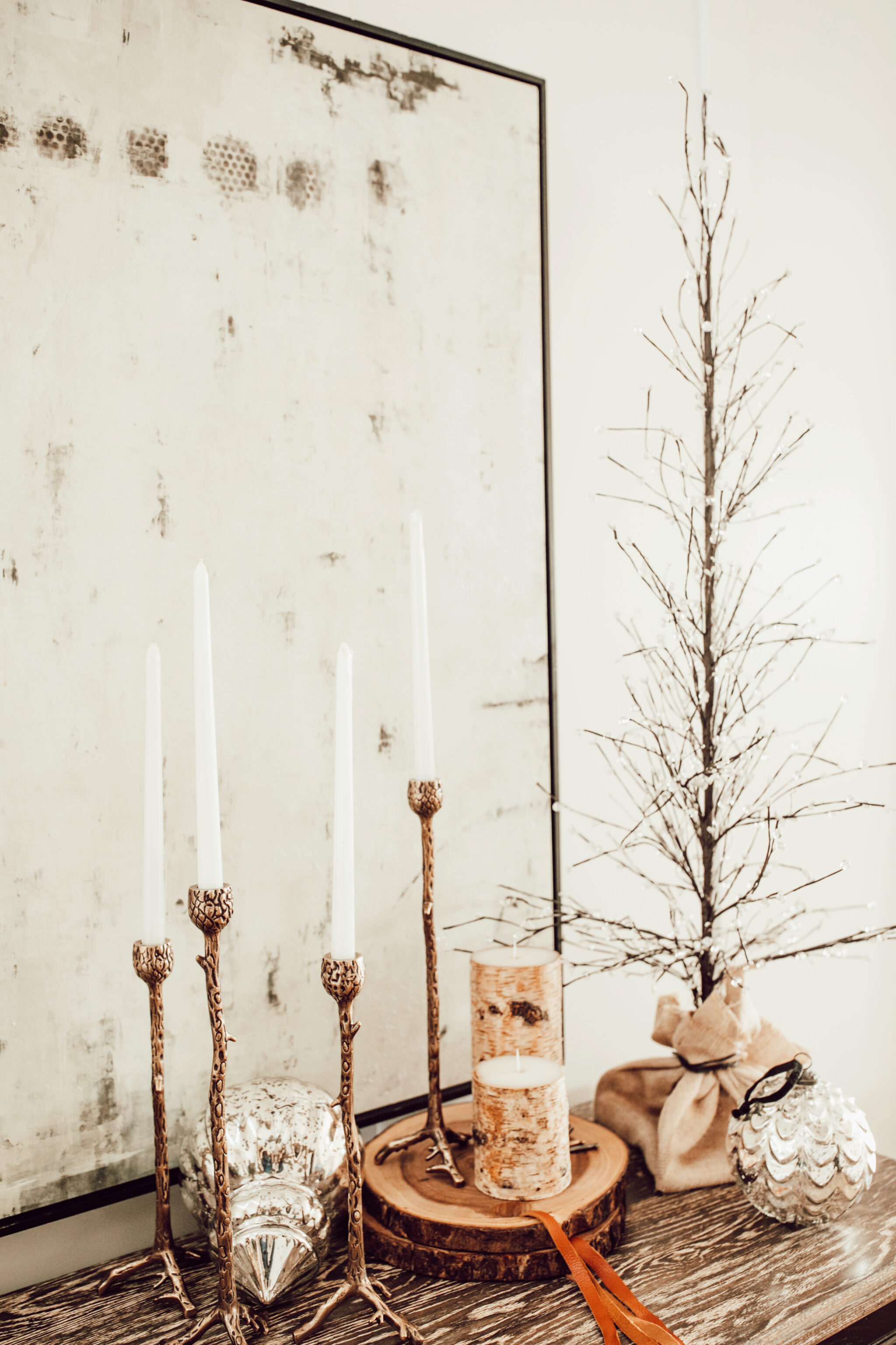 christmas decorations on shelf