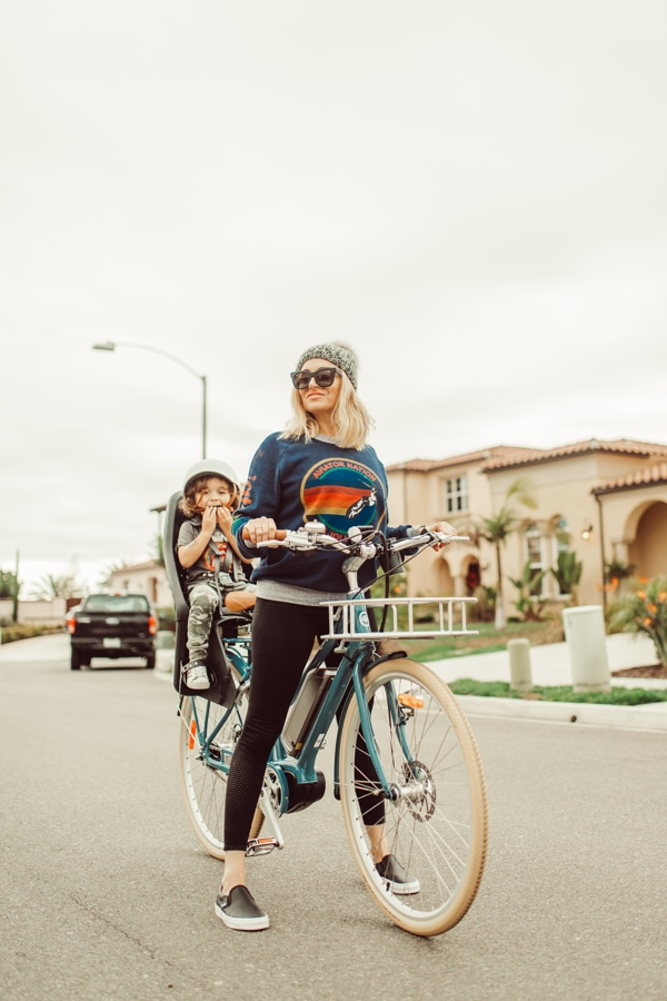 mom and toddler biking
