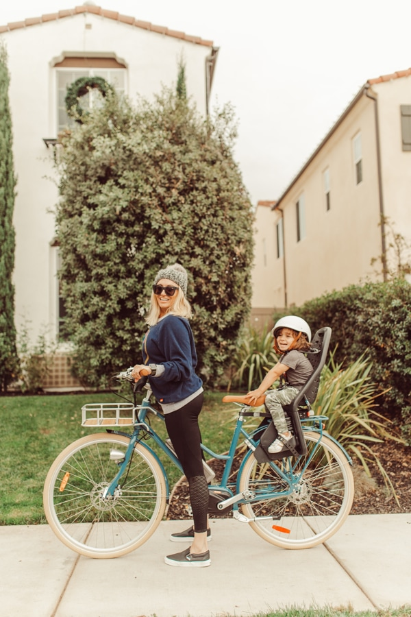 mom and baby on bike