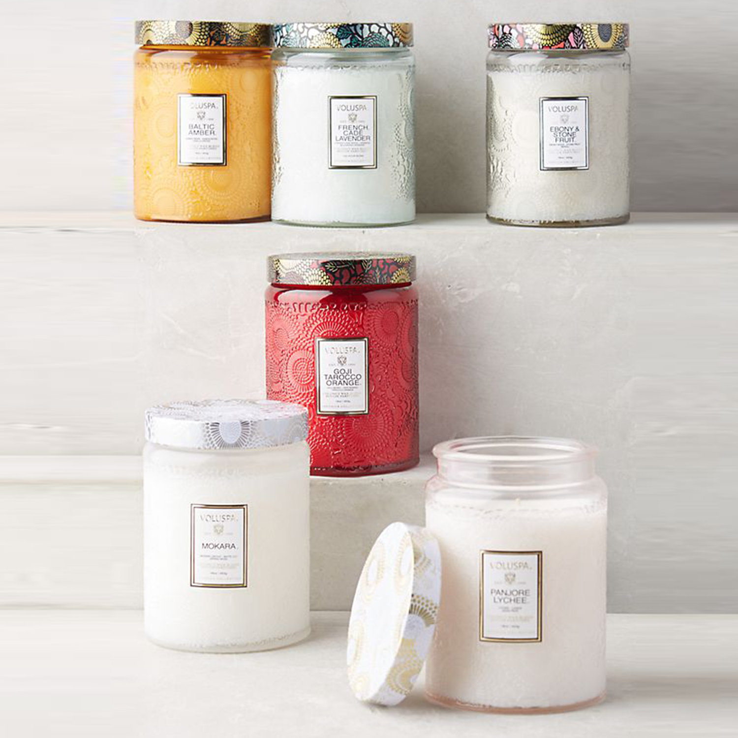 candles on shelves