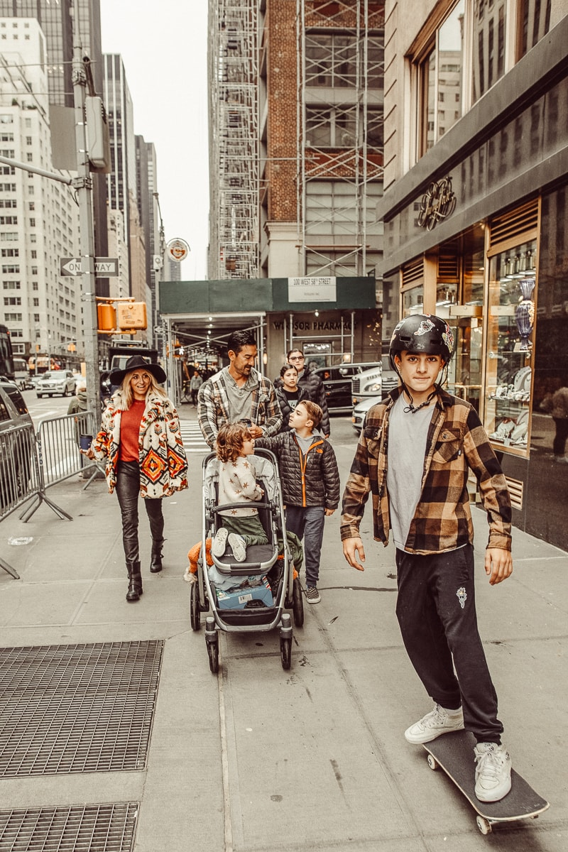 family walking in New York