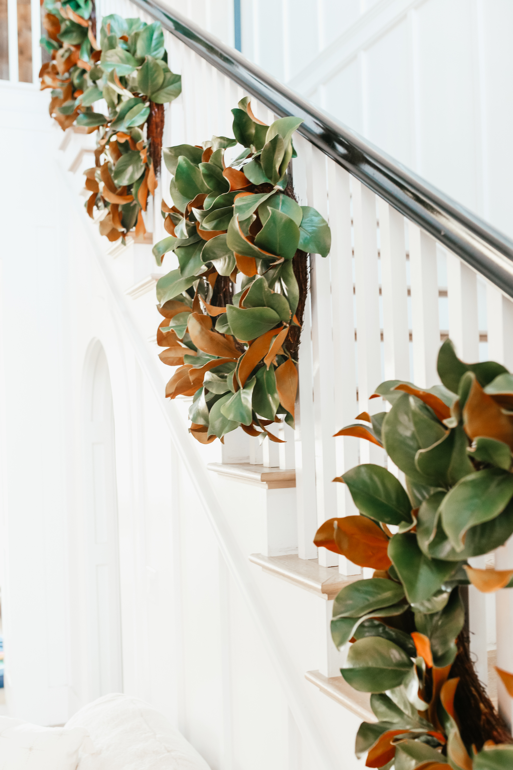 christmas wreath on stairs