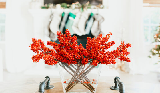 red berry holiday vase