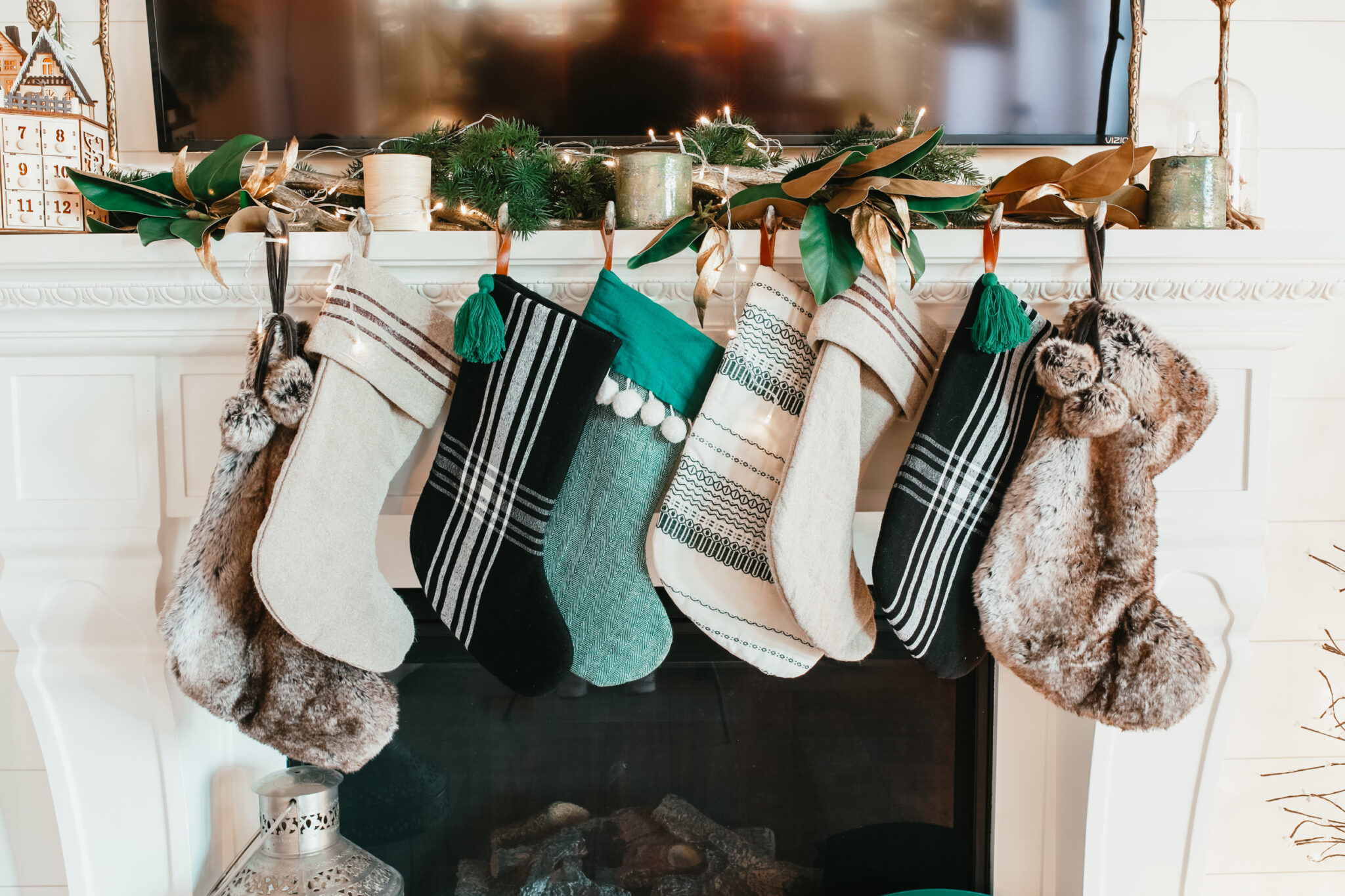 stocking over fireplace