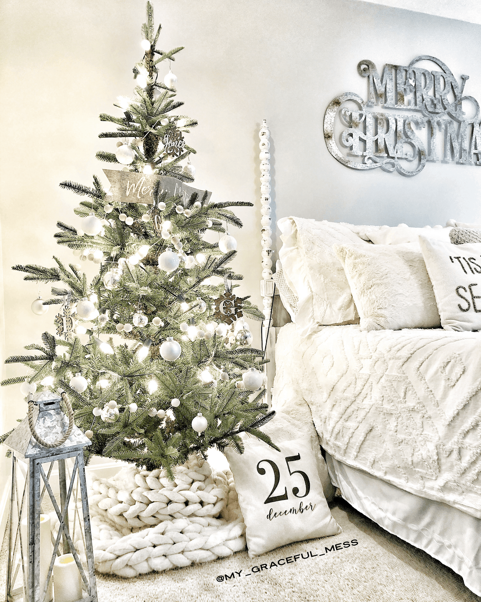 holiday bedroom with christmas tree