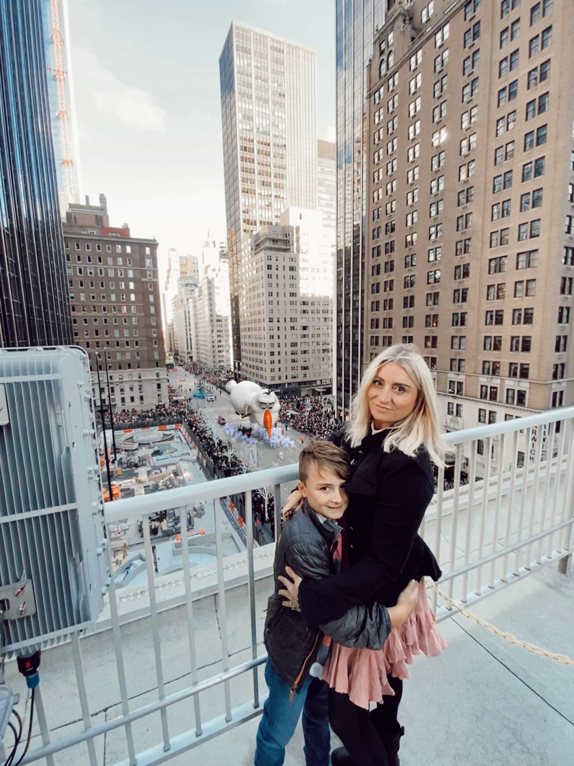 mother and son on new york city rooftop
