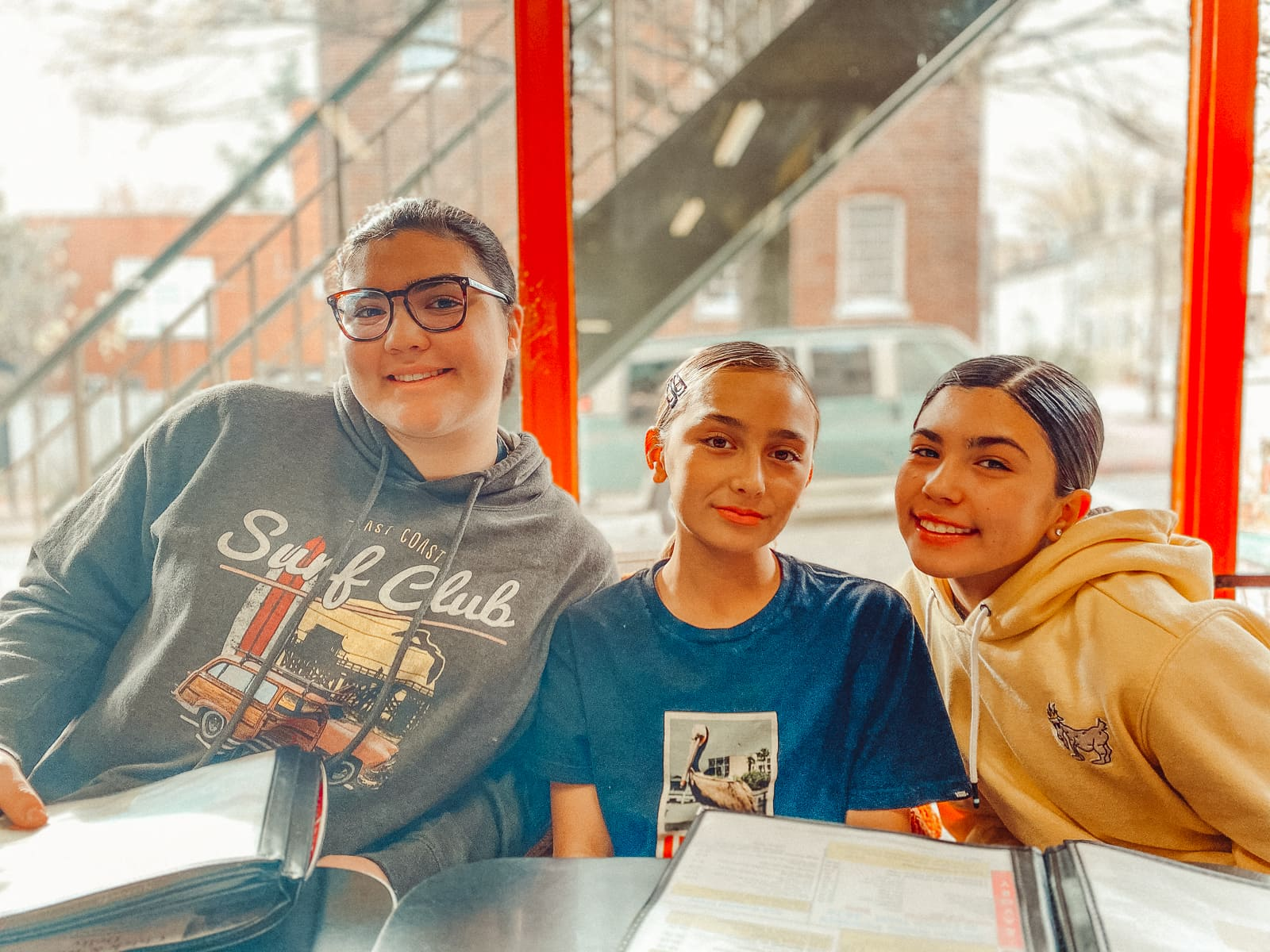 three girls at restaurant